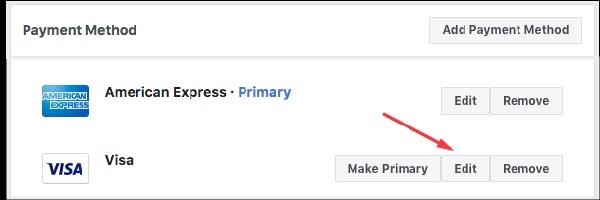Chỉnh thanh toán nợ Facebook bằng Edit