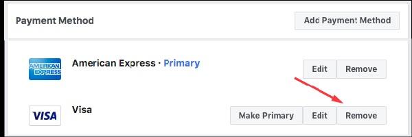 Gỡ phương thức thanh toán quảng cáo Facebook