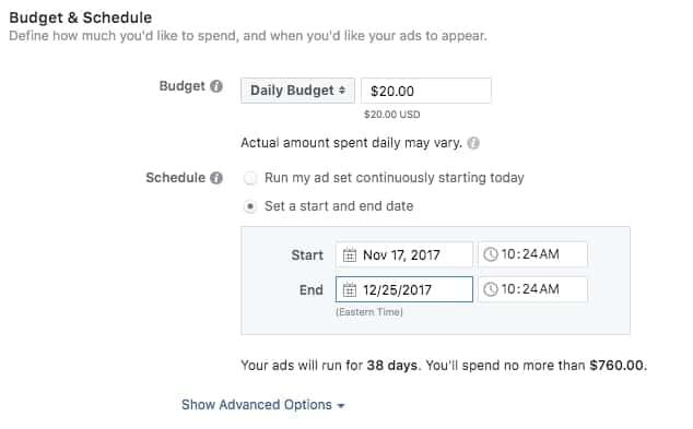 ngân sách và lịch quảng cáo instagram