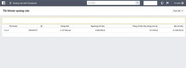 Thông tin nợ Facebook Ads