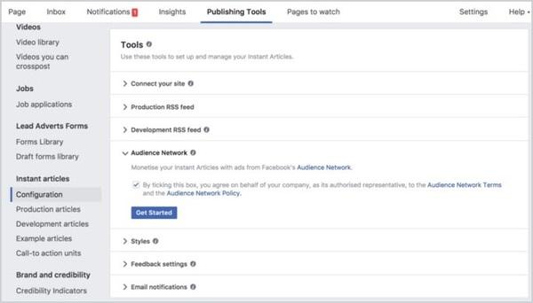 Tiến hành tạo cấu hình với Facebook Audience Network