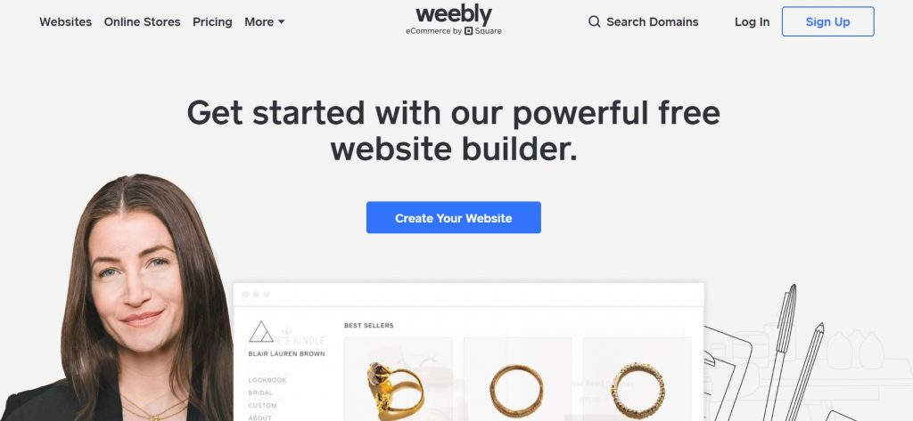 giao diện thiết kế web của weebly