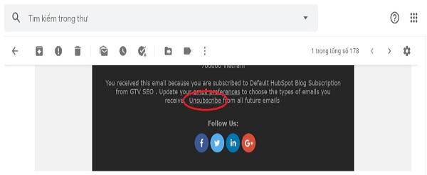 Unsubscribe quy định sử dụng dịch vụ Email Marketing