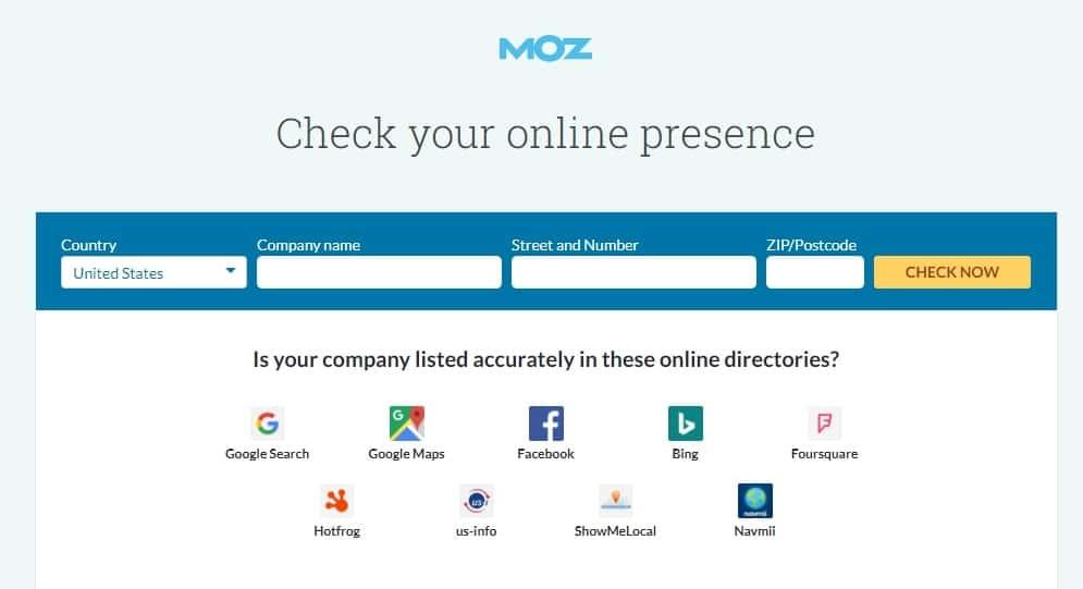 Công cụ Moz Local Listing Score