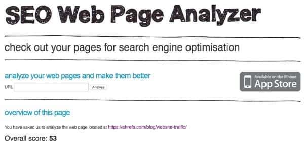 Công cụ SEO Web Page Analyzer