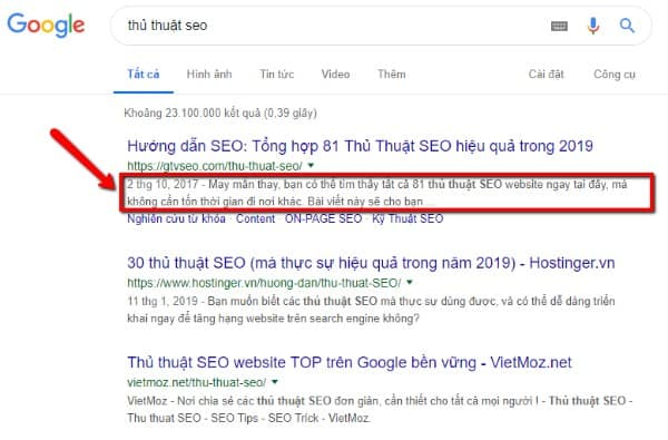 meta description giúp tăng tỷ lệ ctr - click throught rate
