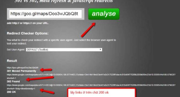 kiểm tra redirect link