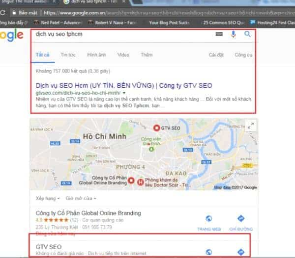 SEO google map top 3 google map của GTV SEO