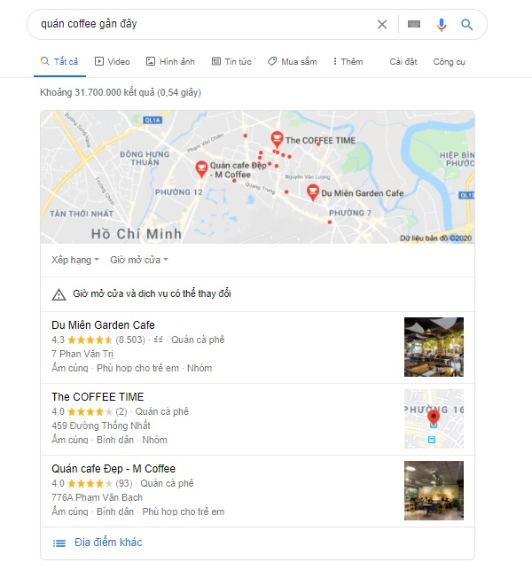 ví dụ snack pack - local business seo