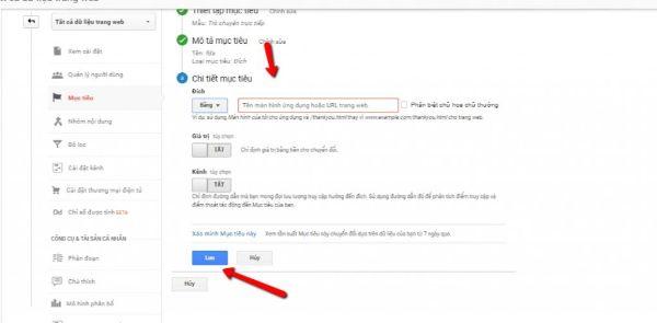 xác định mục tiêu google analytics