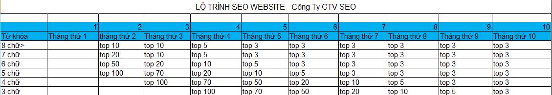 Lộ trình seo website - timeline