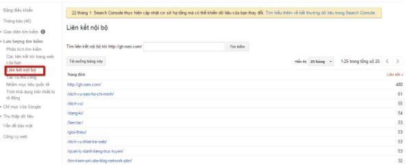 google search console liệt kê internal links tối ưu website của mình - google web master tool