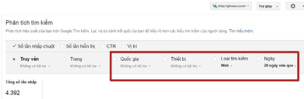 thông tin từ google search console search queries- google web master tool