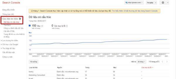 google search console search appearance - thống kê liên quan đến giao điện tìm kiếm