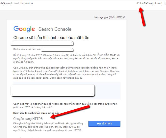 Cảnh báo Https của google webmaster tools