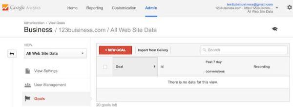 thiết lập mục tiêu cho GA -hướng dẫn sử dụng google analytics