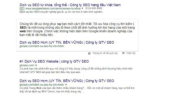 Dịch vụ seo trên google