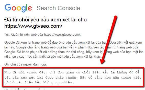 google từ chối yêu cầu disavow