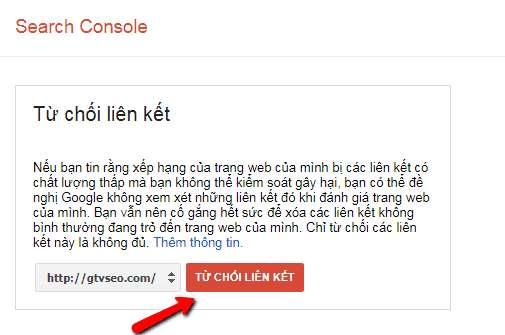 google webmaster tool disavow