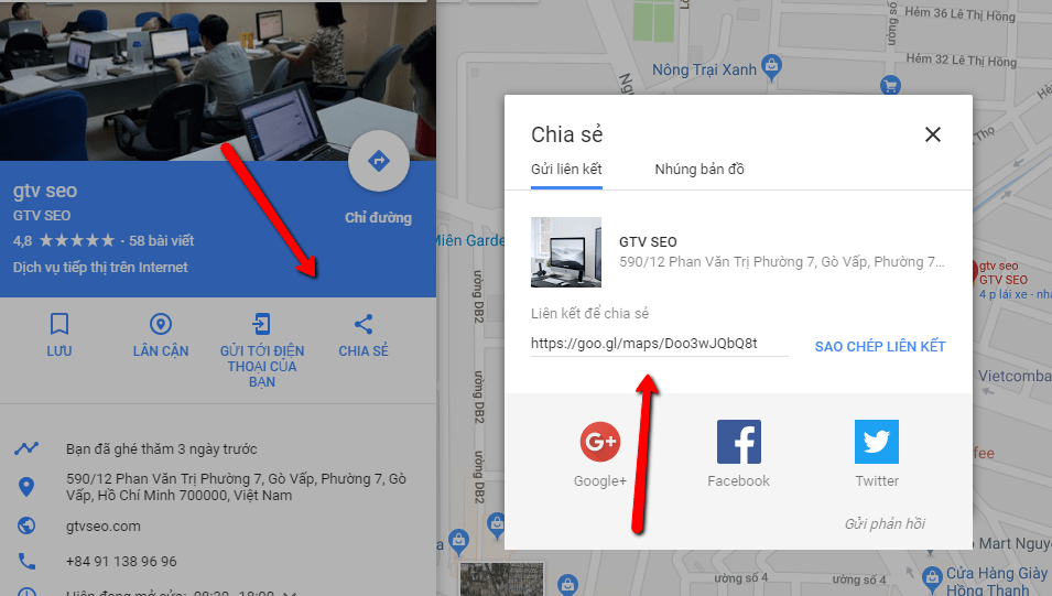 lấy links google maps GTV SEO