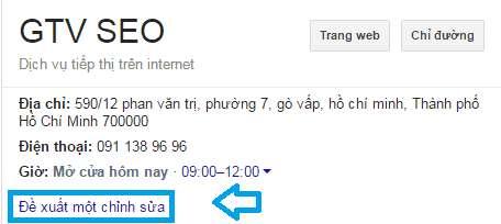 thay đổi thông tin google my business