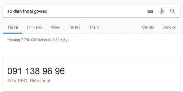 thẻ kết quả google