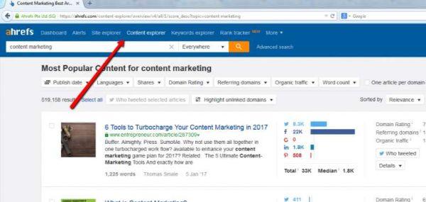 tìm kiếm nội dung content explorer