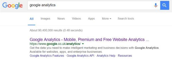 google analytics search