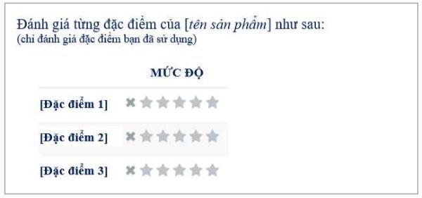 khách hàng đánh giá từng mục riêng