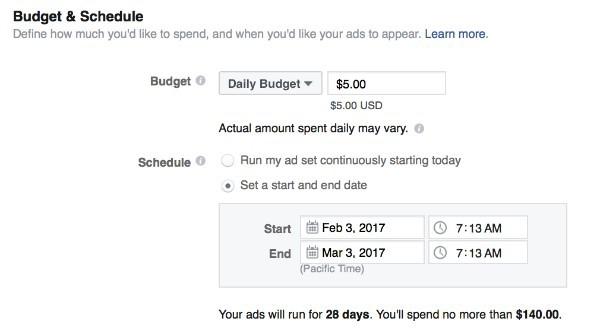Ngân sách và lịch trình quảng cáo của chiến dịch Facebook Marketing.