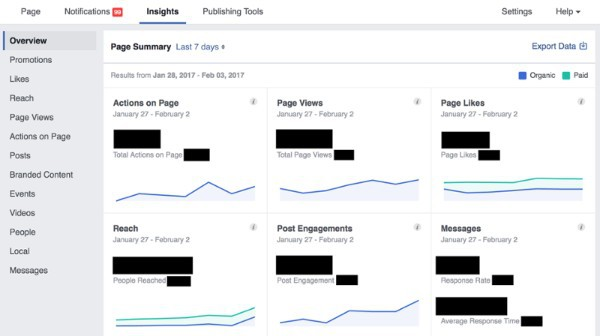 page insights trên facebook