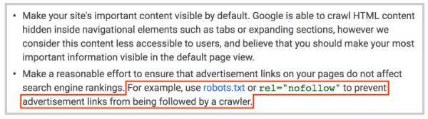 hướng dẫn của google về nofollow cho web site của bạn