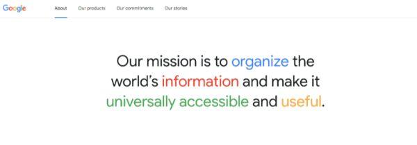 sứ mệnh, sứ mệnh của google, mô hình kinh doanh google