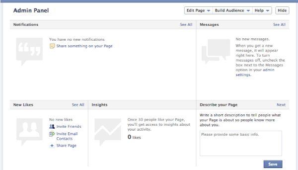 Admin Panel, tạo fanpage trên facebook