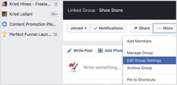 chỉnh sửa thông tin nhóm facebook