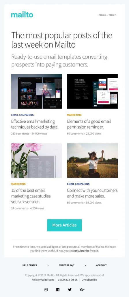 email marketing template mailto
