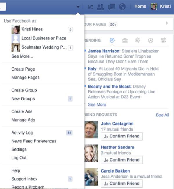 Quản lý trang facebook.