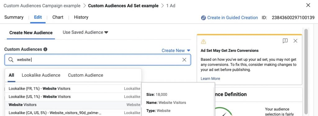 tạo custom audience facebook