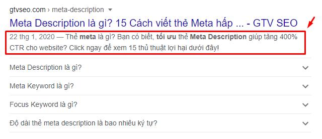 Vị trí của meta description