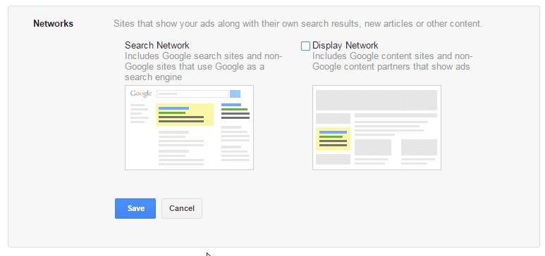 bước 4: chọn network - hướng dẫn chạy google adword