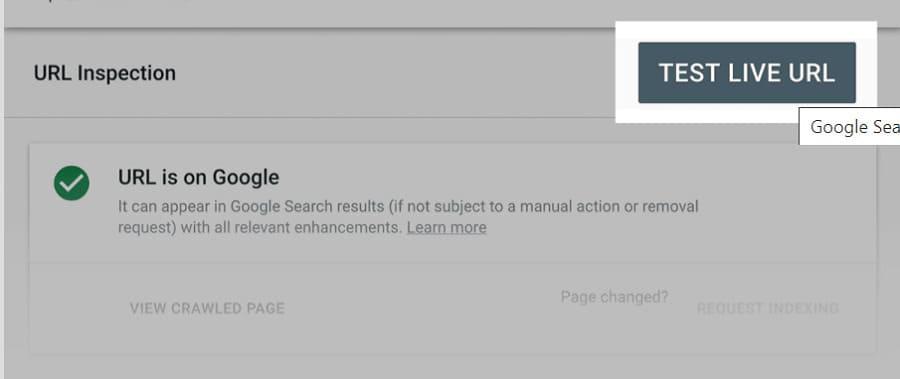 "click vào ""Inspect URL feature"