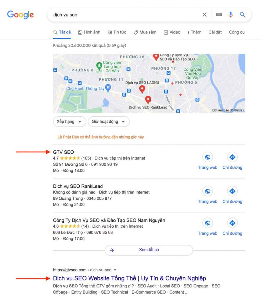 local pack - top 3 google map