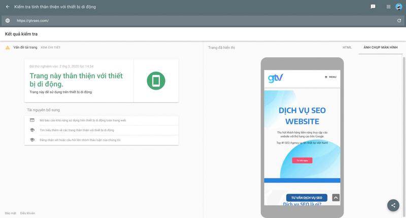 độ thân thiện của website đối với phiên bản mobile bằng mobile friendly test