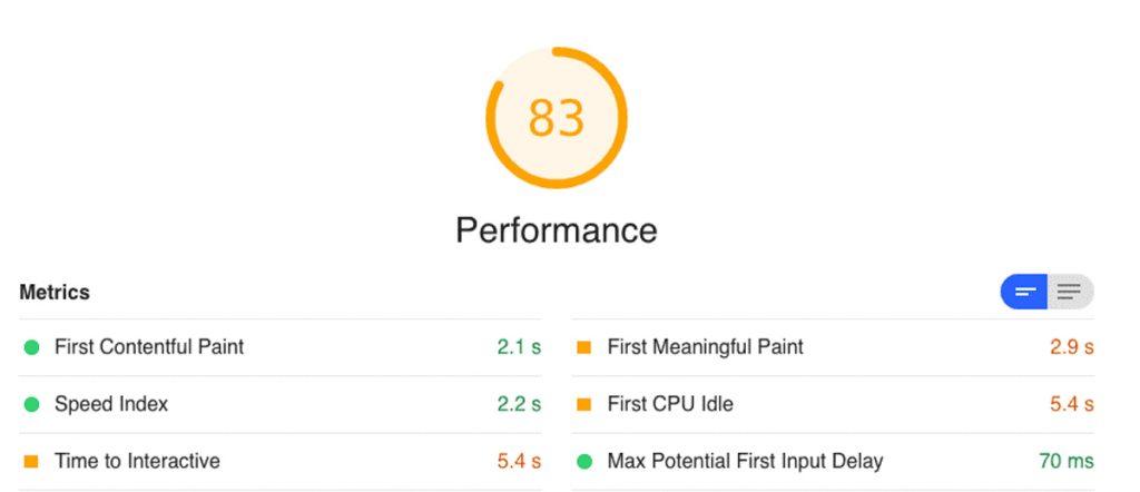 Lighthouse tạo ra bảng Performance Rating