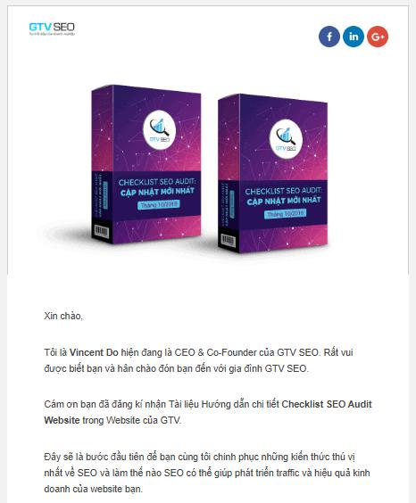 Mẫu Email Marketing mà GTV SEO đã gửi đến các khách hàng